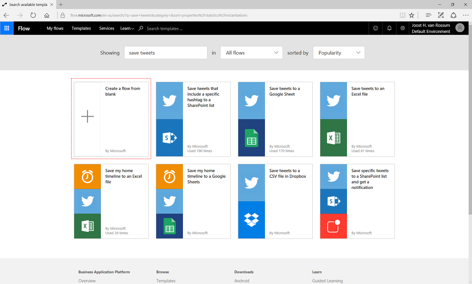 Microsoft BI Tools: Extracting tweets with Microsoft Flow