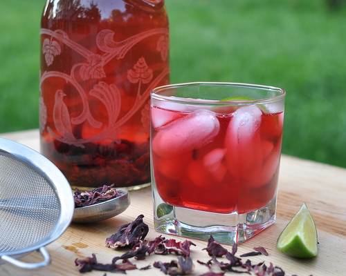 Hibiscus Tea with Ginger & Vanilla ♥ KitchenParade.com, for anyone who wants to drink more water, great for Weight Watchers, Medifast and other diet programs.