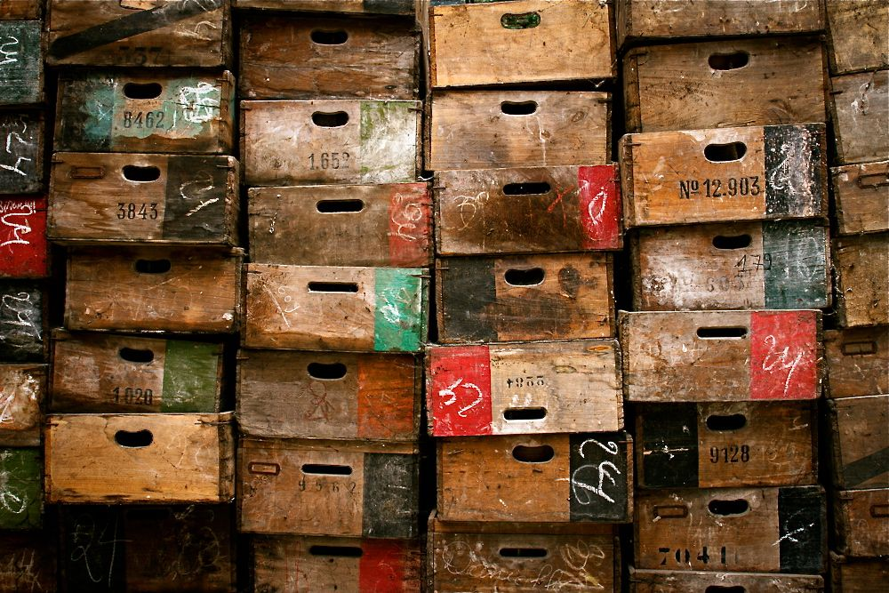 Storage in wooden boxes