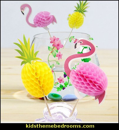 3D Flamingo Pineapple Cupcakes Toppers DIY Cakes Topper Picks Pineapple Topper For Wedding Birthday Luau Party Decoration