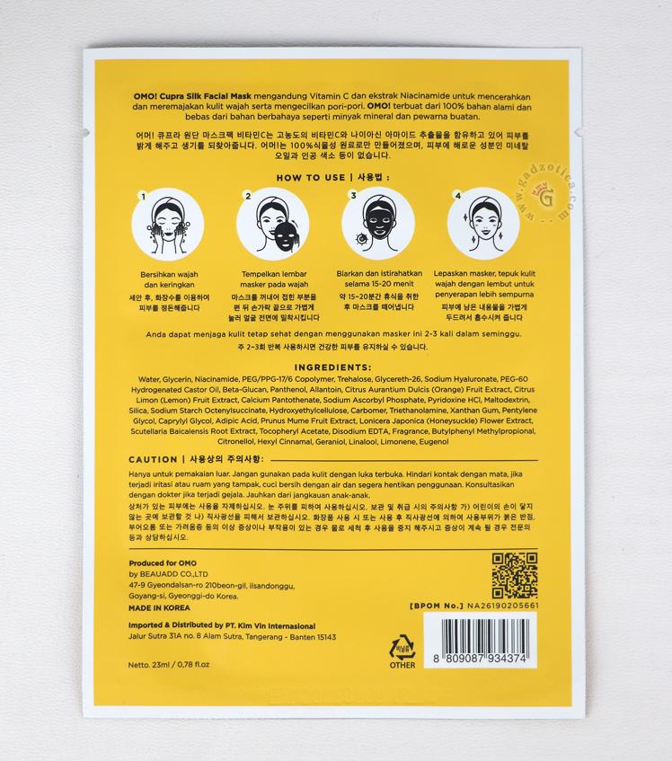 ingredients omo mask sheet vitamin c