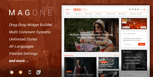 Magazine Blogger Template Golden Version 4.0 MagOne