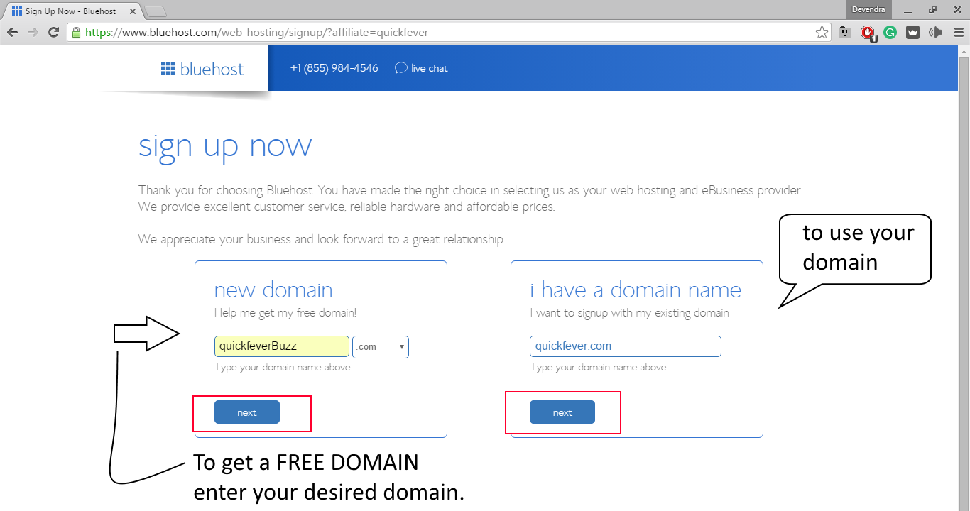 getting a free domain bluehost