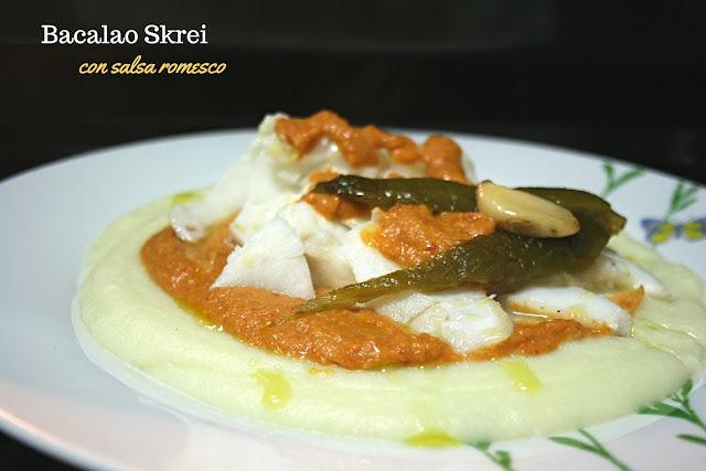 bacalao skrei, salsa romesco
