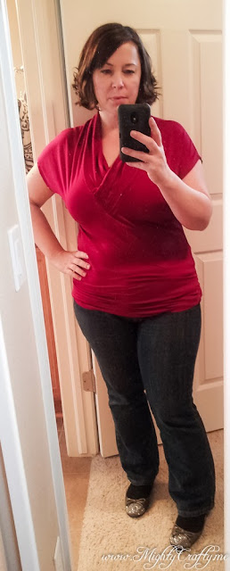 Wren V-neck Cap Sleeve Jersey Top -- My Second Stitch Fix -- Dec 2013 -- www.MightyCrafty.me