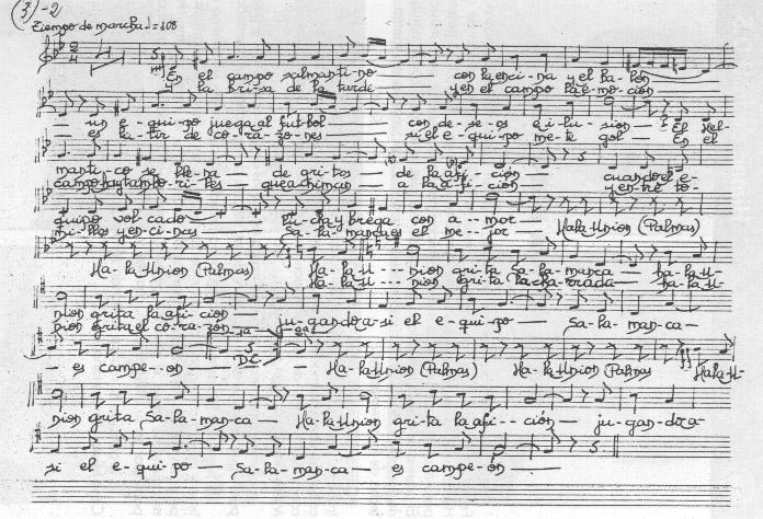 Partitura original del Himno de la UDS