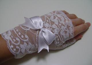 beyaz dantel parmaksız eldiven