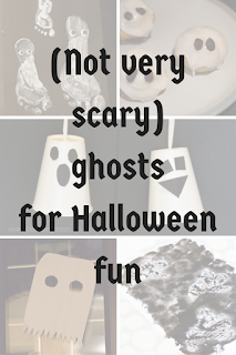 Title text in front of transparent images showing painted ghost footprints, ghost fairy cakes, ghost cups, paper ghosts and glue ghosts