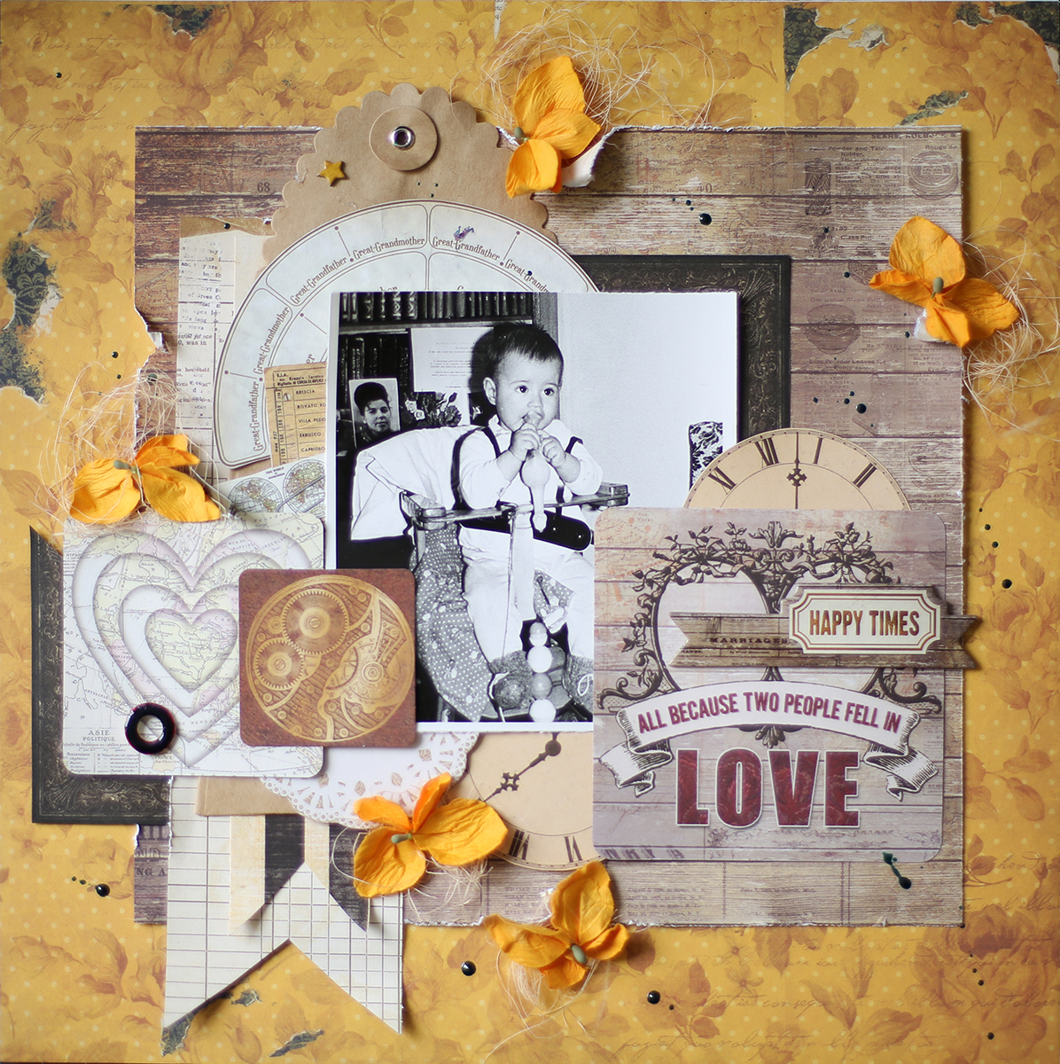 Happy Times layout evgenia petzer heritage collection Bo bunny