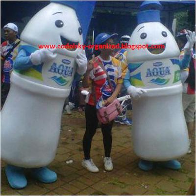 Badut Maskot Aqua, Baju Karakter, Kostum Promosi Aqua, dan boneka yang dipakai orang