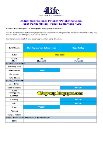 foto Jadual Operasi Bulanan Mac 2018 4Life Malaysia