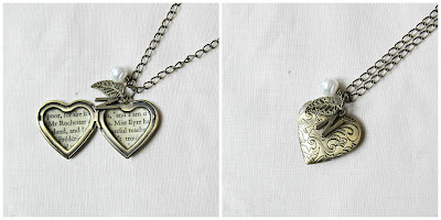image jane eyre locket necklace heart jewellery jewelry two cheeky monkeys handmade mr rochester charlotte bronte bronze brass leaf botanical pearl initial