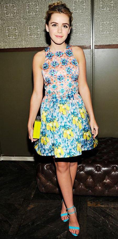 daily look: Kiernan Shipka in a bright floral print Mary Katrantzou dress