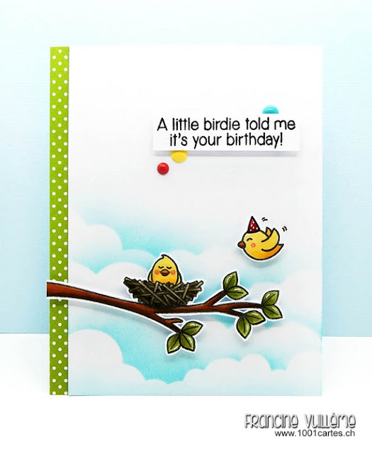 Sunny Studio Stamps: Guest Designer A Bird's Life Birdie Birthday Card by Francine Vuilleme