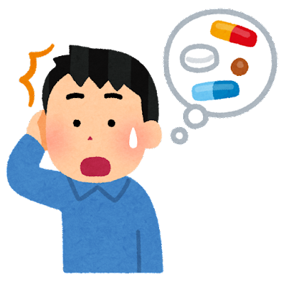 薬を飲み忘れた人のイラスト(男性)