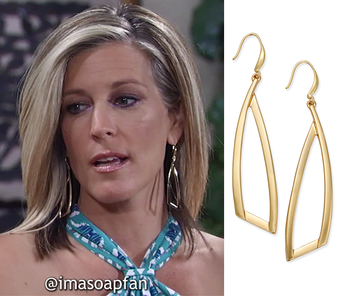 Carly Corinthos, Laura Wright, Gold Triangle Drop Earrings, INC International Concepts, General Hospital, GH