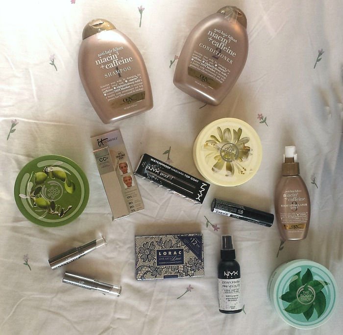 Collective ULTA + Sephora Birthday Haul, the body shop body butter olive, moringa green tea, ulta lip butter ravishing, ogx haircare anti-hair fallout shampoo, conditioner, root stimulator spray, it cosmetics cc cream pf 50 light, lorac palette, nyx cosmetics