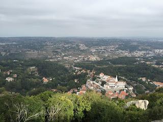 View of Palacio Nacional de Sintra from Castelo dos Mouros