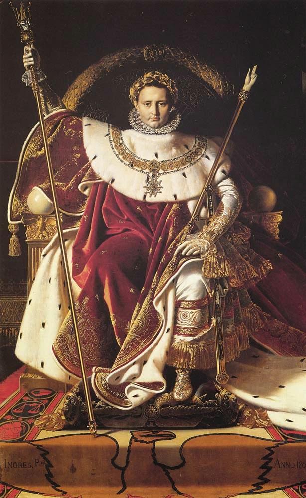 Napoleão I em Seu Trono Imperial - Ingres e suas principas pinturas ~ Neoclassicismo