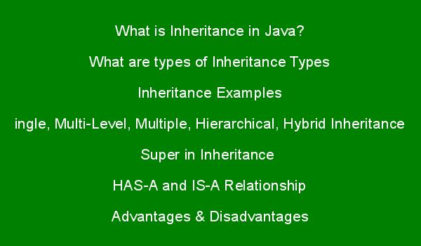 Inheritance in Java, Inheritance Types with Examples