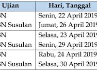 Jadwal dan Kisi Kisi USBN SD/MI Tahun Pelajaran 2018/2019