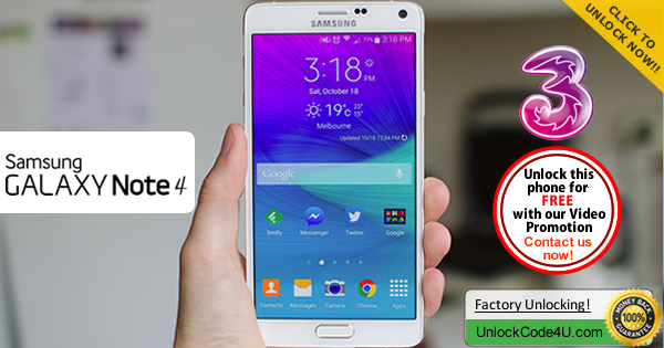 Factory Unlock Code Samsung Galaxy Note 4 from Three Network