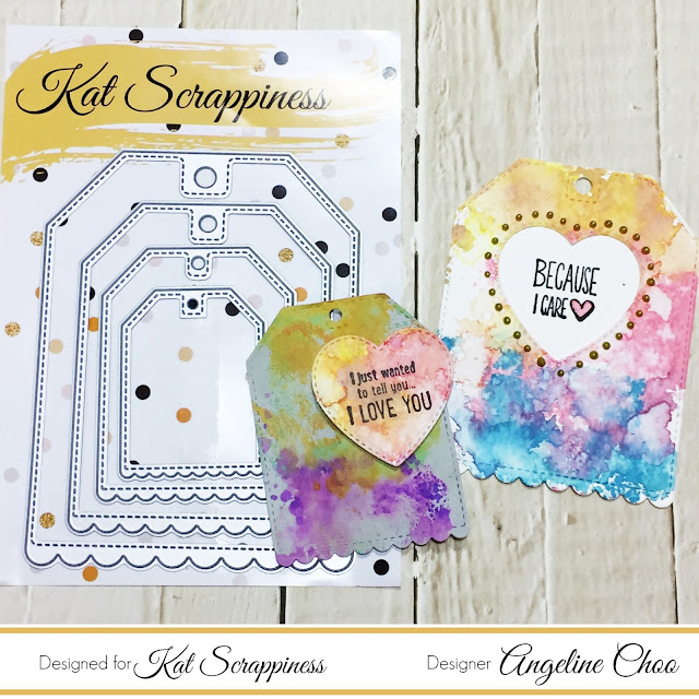 ScrappyScrappy: Distress Oxide Tags with Kat Scrappiness #scrappyscrappy #katscrappiness #timholtz #oxideink #distressoxide #watercolor #mixedmedia #nuvodrop #unitystampco #stamp #stamping #diecut #ginamariedesigns