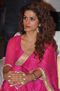 Actress Shraddha Das Stills in Pink Saree at Savitri Audio Launch  0014
