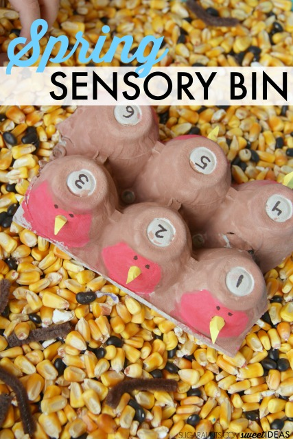 Kids will love this Spring robin sensory bin with corn filler.