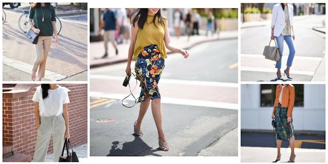 Várias sugestões. Look1: calças beges e blusa verde. Look2: Calças cinza e blusa de folhos branca. Look3: saia floral com blusa mostarda. Look4: jeans com blusa floral e blazer branco. Look5: saia com padrão floral pequeno, blusa branca e blusão cabedal camel.
