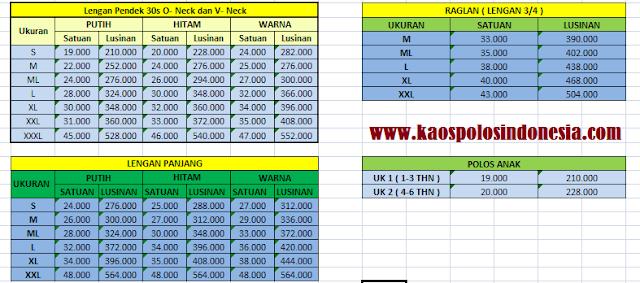 Daftar harga kaos polos
