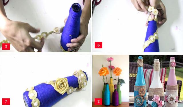 cara membuat vas bunga dari botol