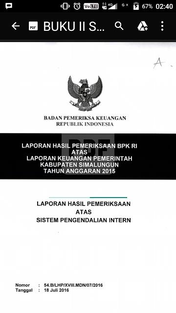 Buku temuan BPK untuk Kabupaten Simalungun.