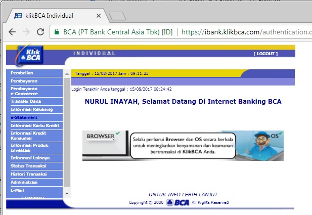 rekening koran bca internet banking