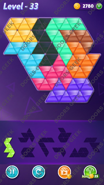 Block! Triangle Puzzle 8 Mania Level 33 Solution, Cheats, Walkthrough for Android, iPhone, iPad and iPod
