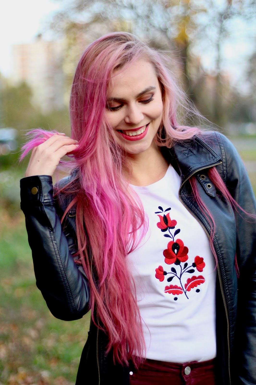 ružové vlasy, outfits fashion blogger