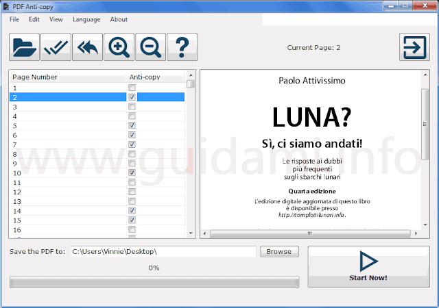 PDF Anti-copy interfaccia grafica
