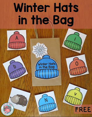 These free winter hat letter and number cards are ideal for playing review games in preschool and kindergarten.