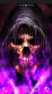 Purple Skulls With Flames