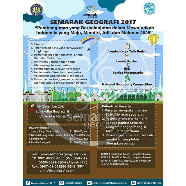Event Semarak Geografi 2017 | Univ. Negeri Yogyakarta | SMA Sederajat