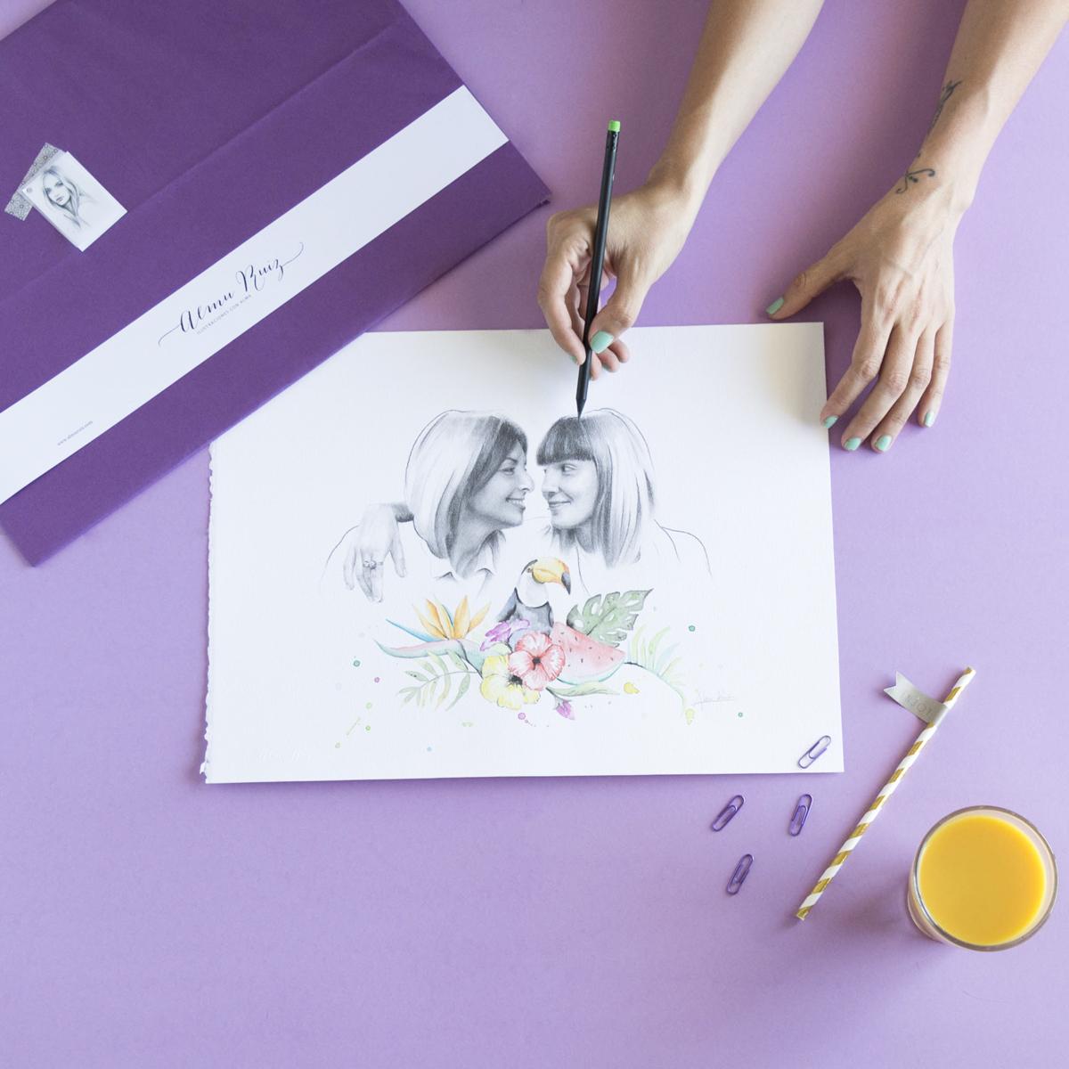 Retrato de pareja a lápiz y acuarela