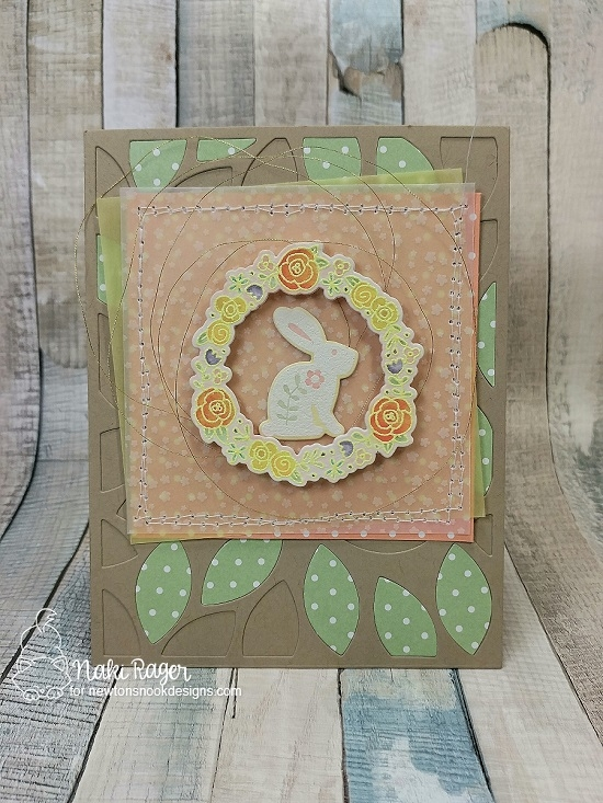 Happy Spring Card by Naki Rager | Cottage Garden and Happy Little Thoughts Stamp Sets by Newton's Nook Designs #newtonsnook