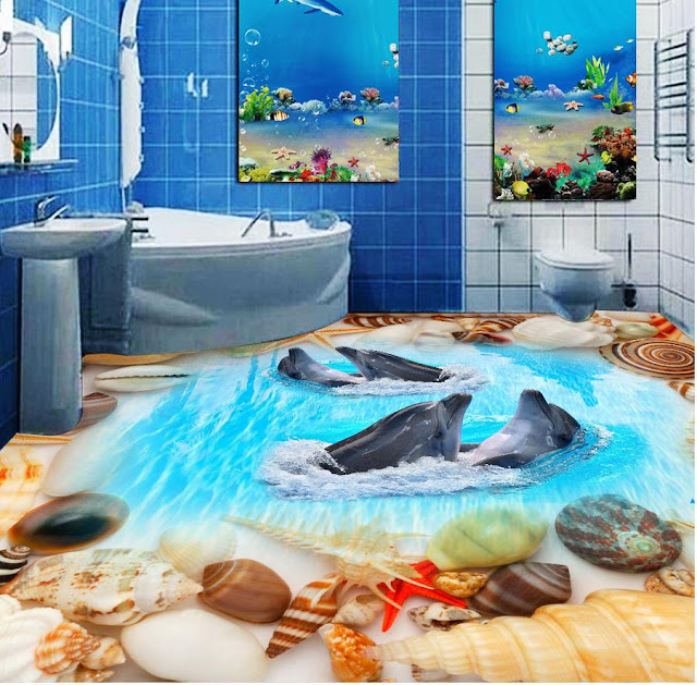 3D flooring designs - 3D bathroom floor murals
