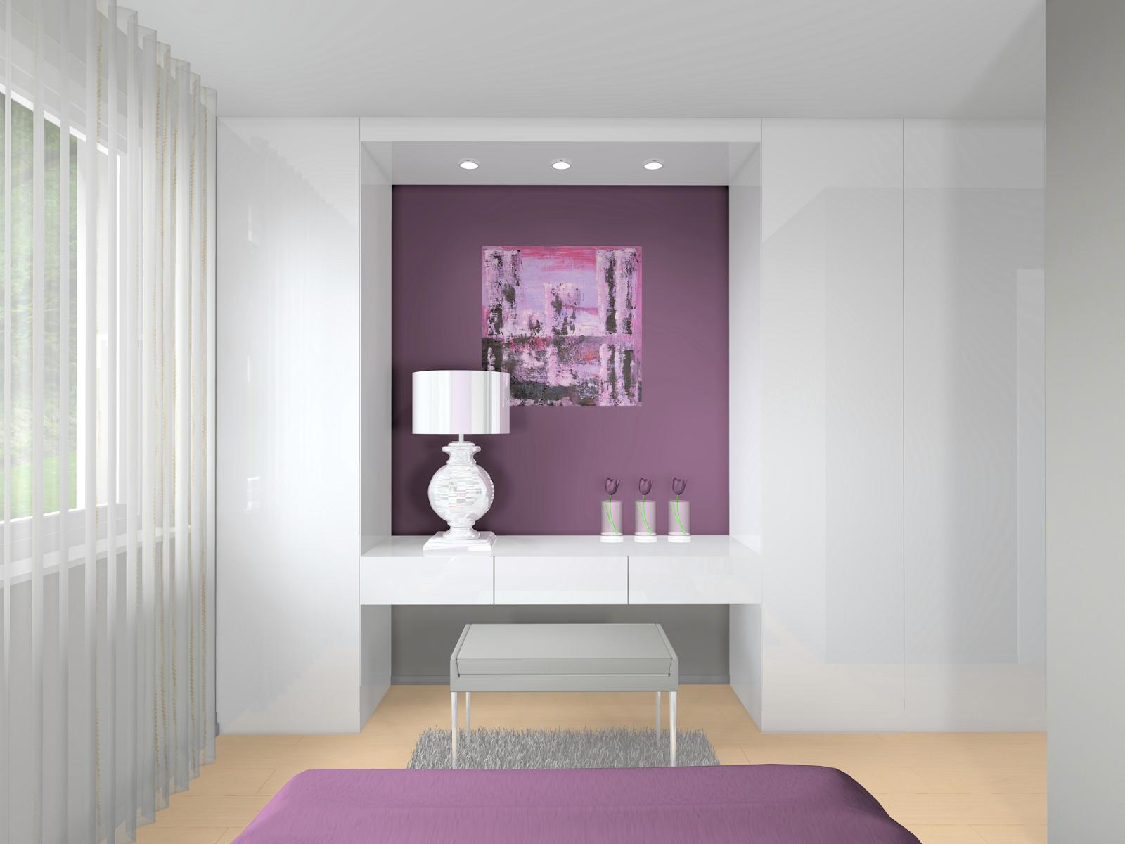 Otthon és Dekor: Egy modern lakás lilában: hálószoba látványtervek