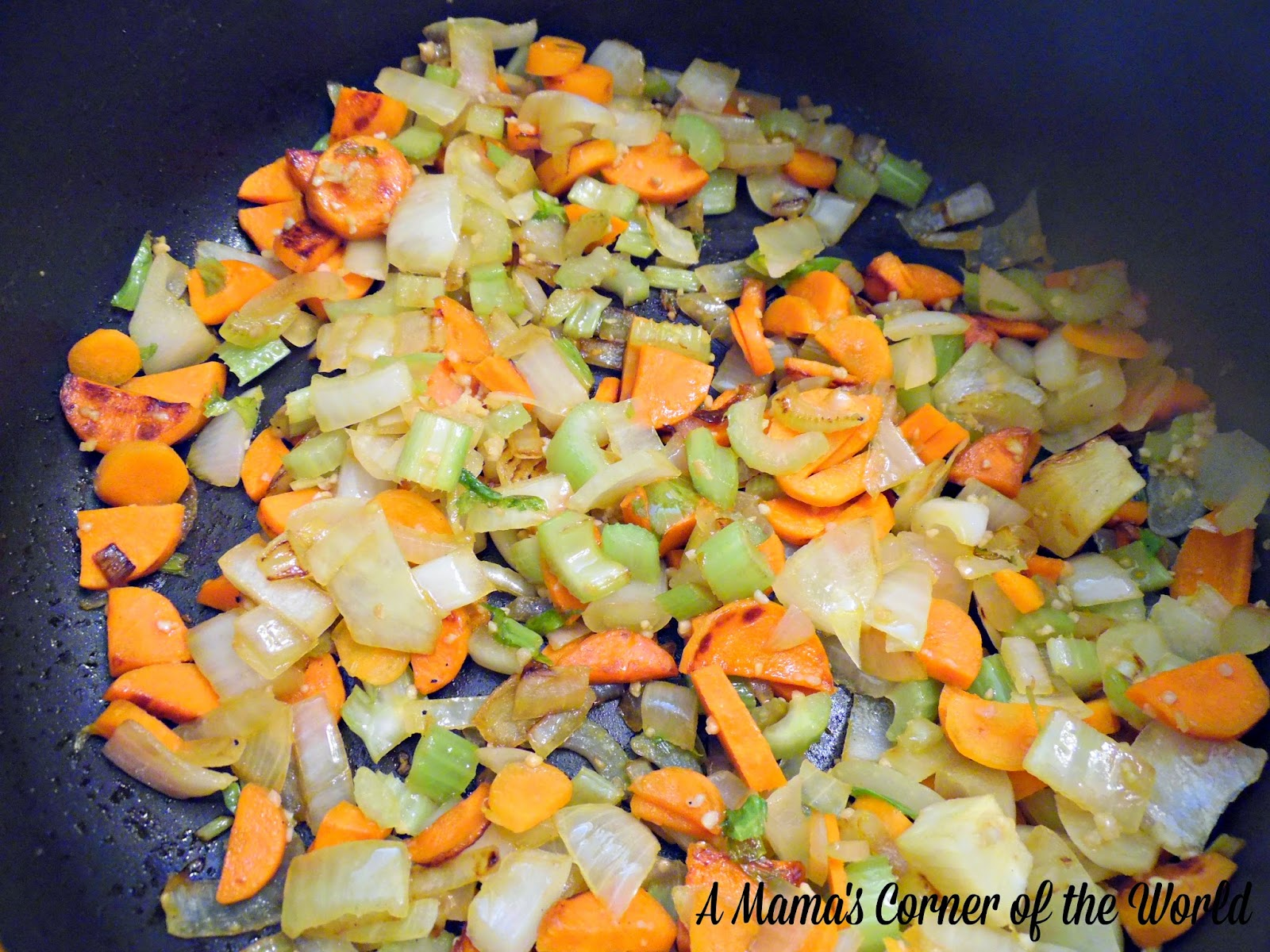 Vegetables cooked as the base for lentil soup.
