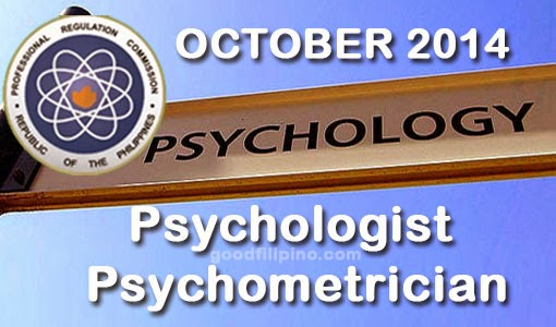 October 2014 Top 10 Psychometrician Board Exam Passers - Top 3 Psychologist Passers