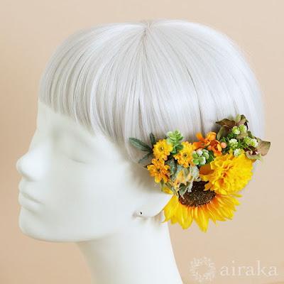 ひまわりのクラッチブーケと髪飾りのセット-airaka