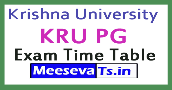 Krishna University KRU PG Exam Time Table 2017