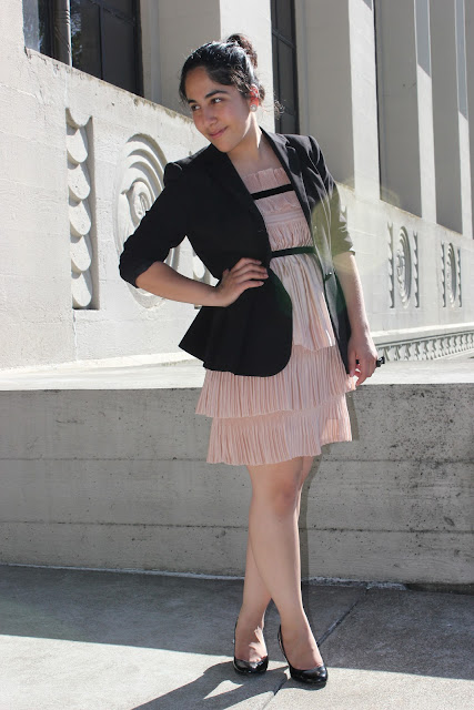 Pleated Pink DVF Dress with Blazer