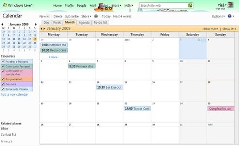 Calendário Hotmail